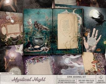 Printable Mystical Night Junk Journal Kit, Downloadable Whimsical Digital Art, Magical Fantasy Art