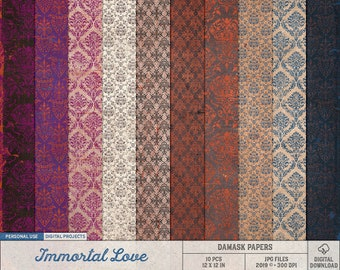 Damask Pattern Papers, Gothic Wedding, Immortal Love Scrapbook Paper, Halloween Paper Backgrounds, Vampire Fantasy, Grunge Texture Paper