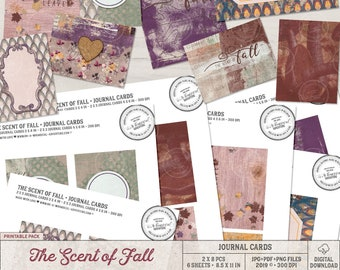 Printable Journal Cards for Scrapbook Pages, Fall Themed Digital Scrapbook Elements, Instant Download, Printable Collage Sheet, Autumn Cards