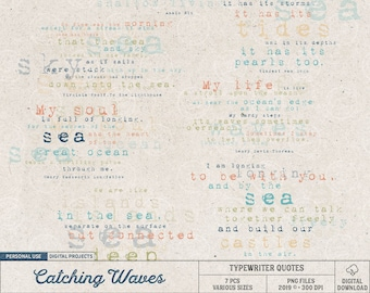 Poems About The Sea And The Ocean, Virginia Woolf, Van Gogh, Summer Clipart, Beach Vacation, Instant Download, Digital Scrapbook Elements