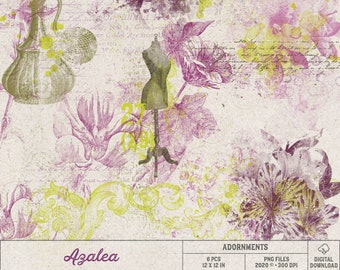 Azalea Scrapbook Elements, Photoshop Overlays, Instant Download, Gift For Women, Pink And Lime Green