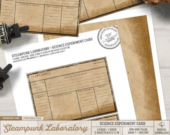 Science Experiment, Vintage Style, Steampunk Laboratory, Mad Scientist, Experiment Card, Printable Form, Instant Download, Halloween Decor