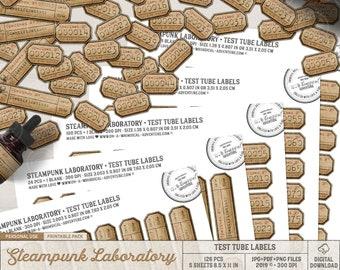 Steampunk Laboratory, Mad Scientist, Science Lab Experiment, Printable Test Tube Labels, Specimen Labels, Instant Download, Halloween Decor