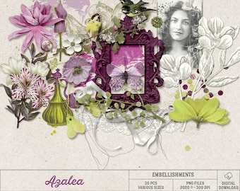 Azalea Scrapbook Elements, Mixed Media, Instant Download, Gift For Women, Pink And Lime Green