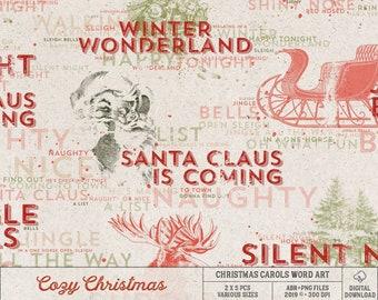 Song Lyrics, Classic Christmas Carols Photoshop Brushes, Instant Download, Digital Scrapbooking Elements, Photo Overlays, DIY Holiday Cards
