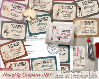 Naughty Coupons, Sex Coupons, Kinky Gift For Him, Boyfriend Gift Box, Love Coupons For Him, Love Vouchers, Printable, Valentines, Pin Up
