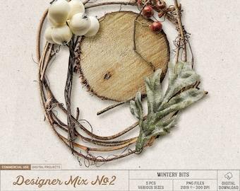 Winter Berries, Commercial Use OK, Wood Slice, Rustic Digital Scrapbooking Embellishments, Branches, Christmas Clip Art, Digital Download
