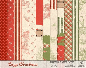 Patterned Christmas Paper, Red And Green Backgrounds, Vintage Holiday Papers, Instant Download