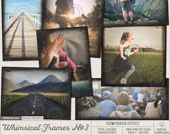 Viewfinder Frames, Picture Frame Set, Photographer Gift, Vintage Camera Lens, Layered Templates For Photoshop, Photo Mask, Instant Download