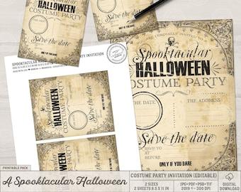 Halloween Costume Party Invitations, Halloween Digital Invitations, Printable Invitations, DIY Invitations, Halloween Instant Download