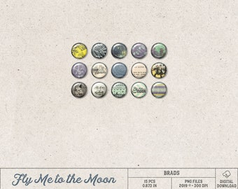 Moon Flair Buttons, Instant Download, Digital Brads, Steampunk Space, Jules Verne, Rocket Ship, Cosmic Themed, Digital Scrapbooking Elements