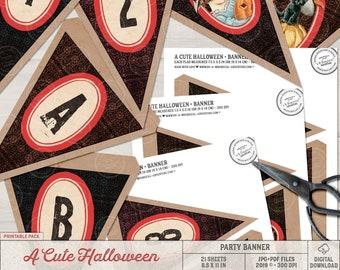 Halloween Banner, Printable Banner, Party Supplies, Halloween Decoration, Party Ideas, Printable Party Banner, Instant Download, Garland