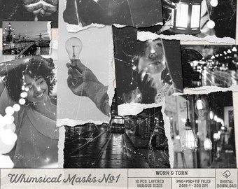 Photoshop Overlays, Digital Scrapbooking, Photo Editing, Layered PSD Templates, Grunge Textures, Scratches And Dust, Ripped Paper Edges