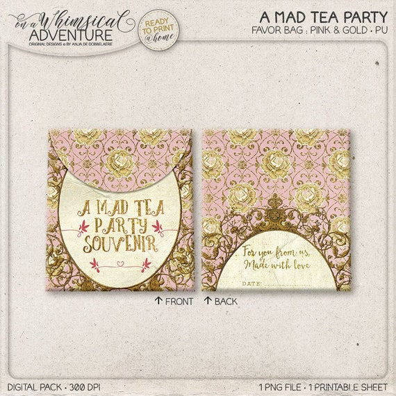 Printable Party Favor Bag Mad Hatter Blue and Gold DIY Treat Bag Alice In Wonderland Instant Download Mad Tea Party Decorations