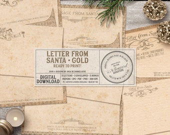 Letters From Santa, From The Desk Of, Writing Paper, Paper Crafts, Victorian Style, Vintage Christmas, Antique Gold, Paper And Envelope