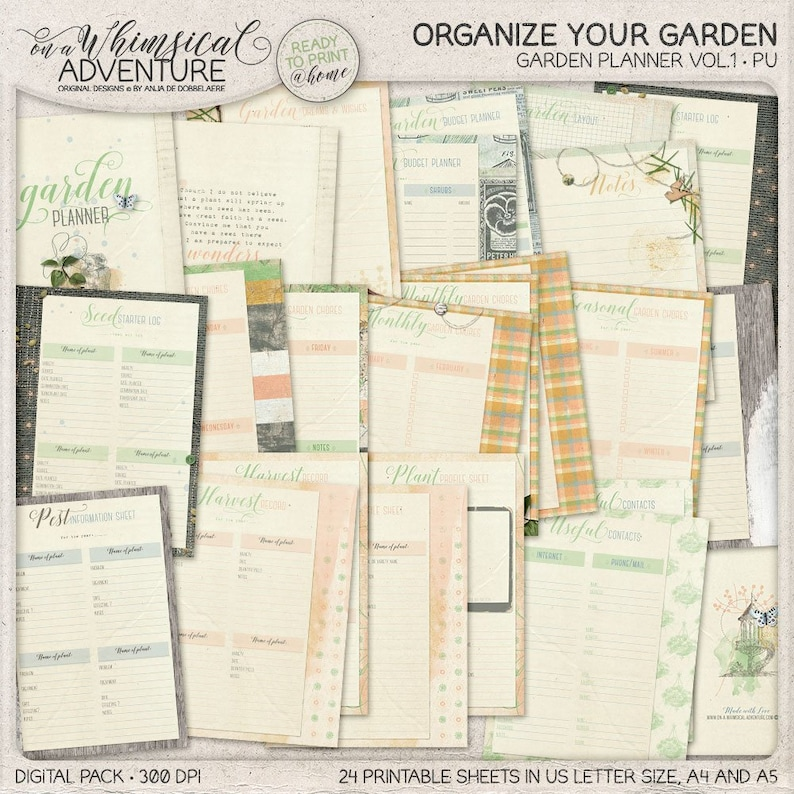 image relating to Printable Garden Planner identified as Printable Back garden Planner, Seed Rookie Log, Harvest Tracker Log, Perpetual Planner Templates, Gardener Reward Strategy For Females, Instantaneous Down load