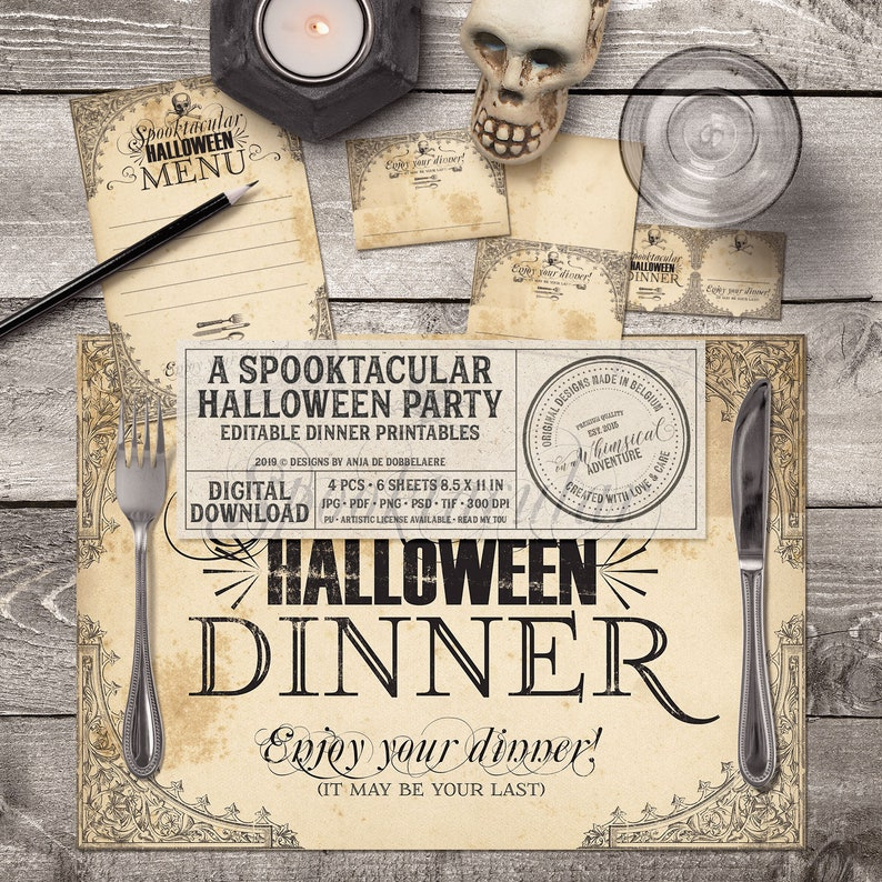 Halloween Event Printable Dinner Party Decor Gothic Style image 0