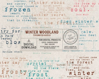 Typewriter Word Art - Winter Woodland Poems - Inspirational Quotes And Sayings - Instant Download