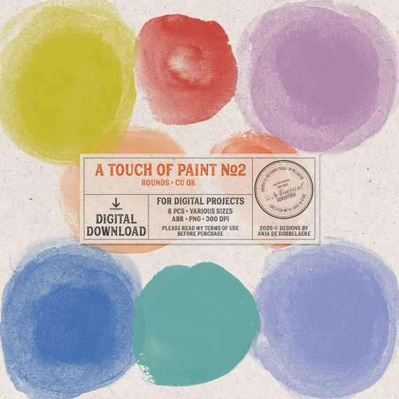 Instant Download Commercial Use OK Photoshop Brushes Grunge Paint Circles Hand Stamped Circles Digital Circles Art Journaling Elements