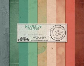 Under The Sea, Mermaid Digital Card Stock, Instant Download, Aquatic World, Aquarium Life, Fairytale, Digital Scrapbooking Solid Paper Pack
