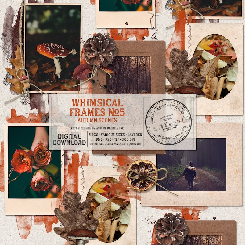 Editable PSD Template Picture Frame Set Fall Themed image 0