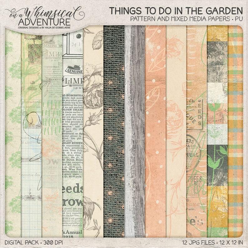Botanical Floral Paper Pack In The Garden Instant Download image 0