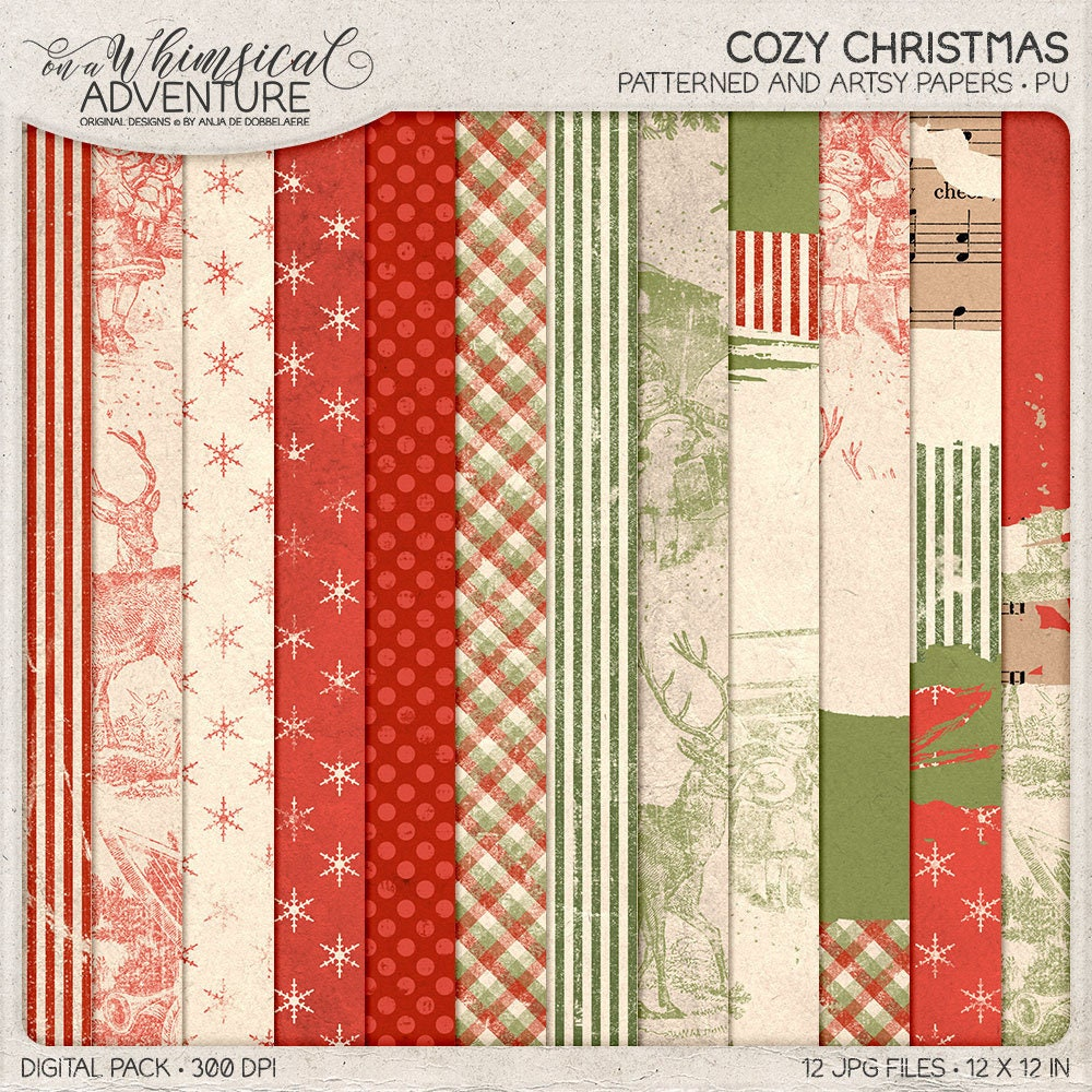 For The Holidays Grungy Paper Pack Shabby Christmas Digital | Etsy
