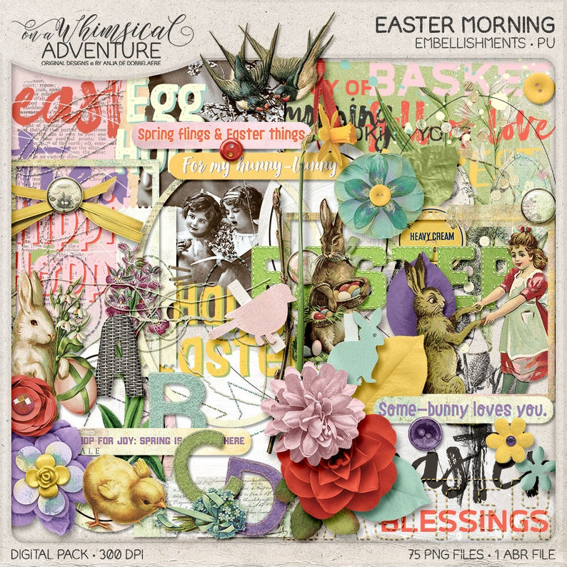 Happy Easter Egg Hunt Instant Download Digital Scrapbooking image 0