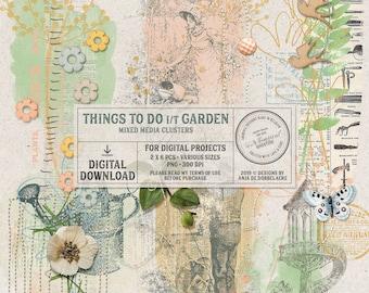 In The Garden, Nature Inspired, Overlays, Instant Download, Digital Scrapbooking Embellishments, Outdoor Activities, For The Gardener