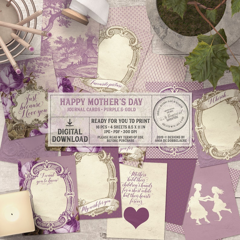 Mother's Day printable digital collage sheet instant image 0