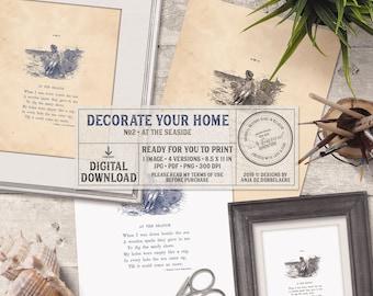 Bathroom Wall Art, Instant Download Home Decor, Printable Digital Sheet, Seaside Robert Louis Stevenson Poem, Vintage Book Page, Sailor Boy