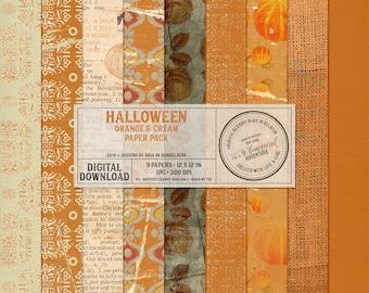 Paperpack Halloween, digital scrapbooking, digital download, scrapbook papermix, patterns, solids, cardstock orange, Halloween backgrounds,