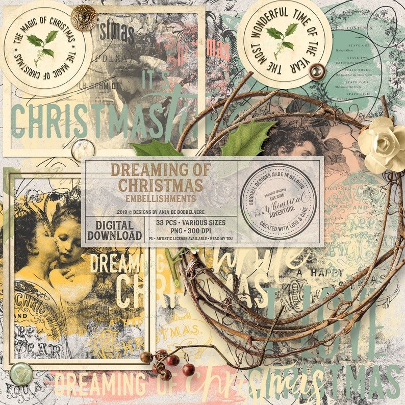 Dreamy Christmas Romantic Scrapbook Elements Digital image 0