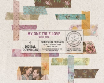 Rose Patterns, Floral, Glitter Washi Tape, Instant Download, Digital Tape, Engagement Photo Album, Valentine's Day,  Romantic Scrapbook Idea