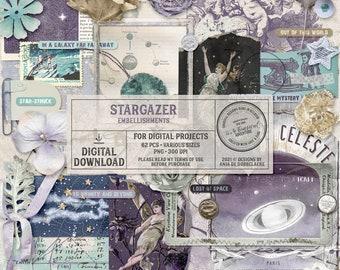 Celestial Clip Art - Astronomy Scrapbook Elements - Vintage Star Chart - Space Art - Instant Download