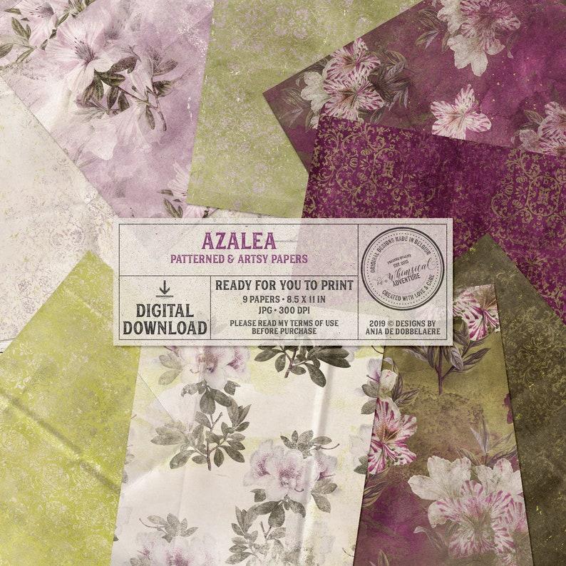 Azalea Printable Papers Floral Letter Size Paper Instant image 0