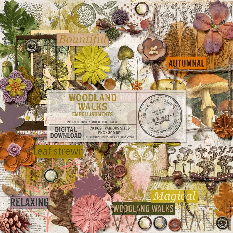 Rustic Digital Scrapbook Elements Botanical Embellishments image 0