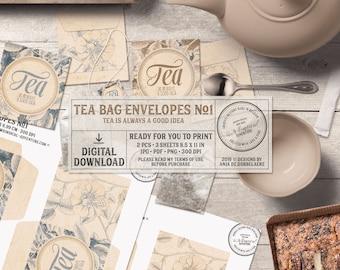 Gold Marble, Blue Marble, Tea Gift Idea, Tea Lover, Printable Tea Bag Envelope, Instant Download, Digital Collage Sheet, Floral Pattern
