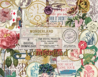 Shabby Chic, Alice In Wonderland, Vintage, Clip Art, Digital Download, Scrapbook Album, Embellishments, Craft Supplies, Tea Party, Alice