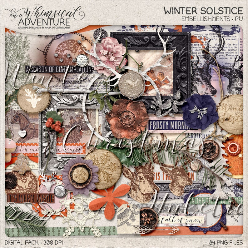 Winter Solstice Christmas Page Kit Winter Wonderland Nature Inspired Memory Book Ideas Rustic Christmas Scrapbook Yule Rituals