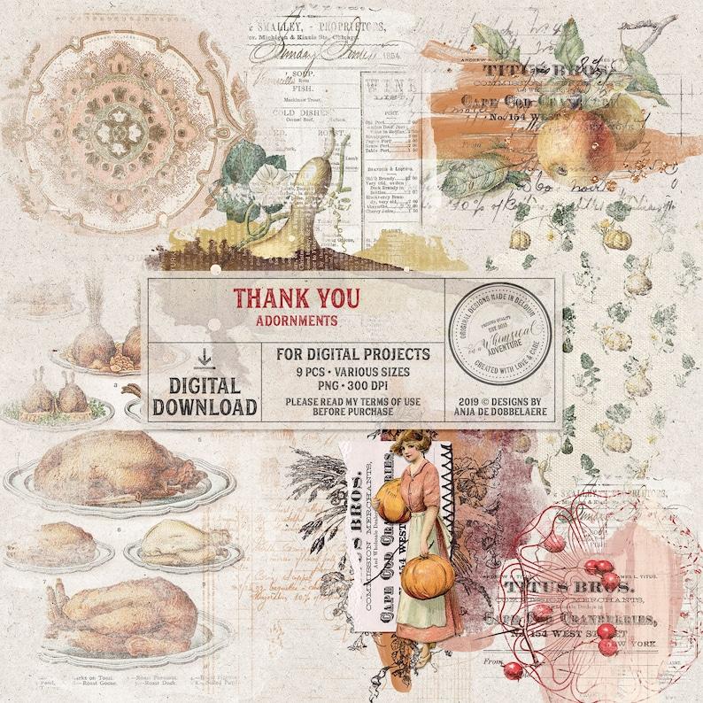Thanksgiving Clip Art Digital Mixed Media Overlays Instant image 0