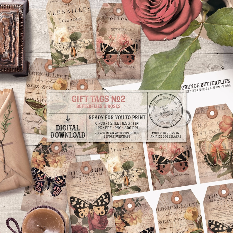 Gift Tags Bohemian Style Women Butterfly Gift Digital image 0