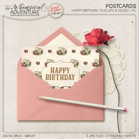 Postcard for him for her happy birthday greeting card etsy image 0 m4hsunfo