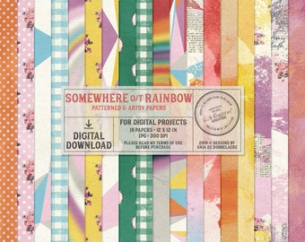 The Wizard Of Oz Paper, Instant Download, Handmade Digital Paper Pack, Somewhere Over The Rainbow