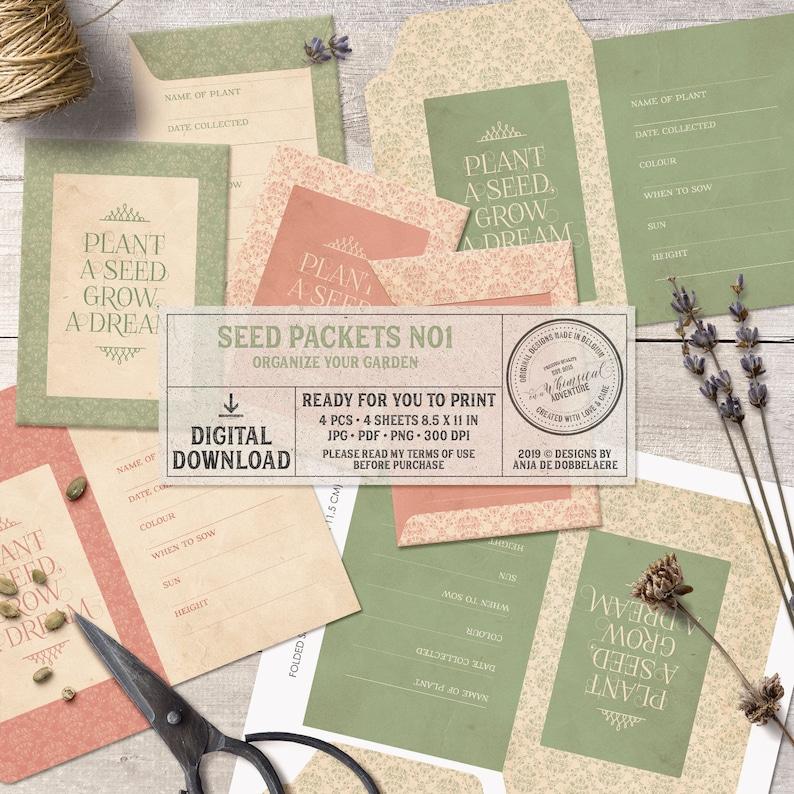 Seed Savers Printable Digital Collage Sheet Instant image 1