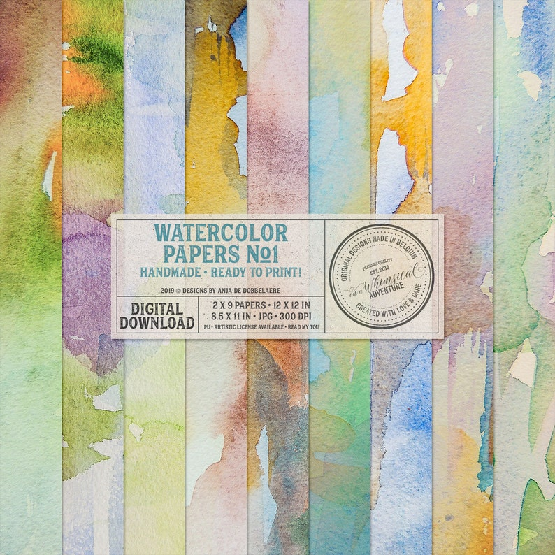 Unique Hand Painted Watercolor Papers Digital Download image 0