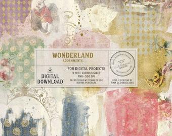 Gold Digital Transfers Wonderland, Instant Download, Alice In Wonderland Scrapbook Elements, Rub-on White Rabbit, Mixed Media Overlays