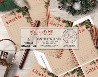 Printable Wish List For Santa, Christmas Gift, Naughty Or Nice, Vintage Holly, Instant Download