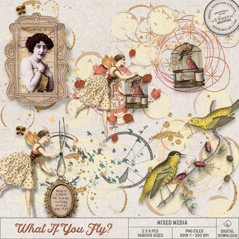 Clustered Digital Scrapbook Elements Mix What If You Fly image 0
