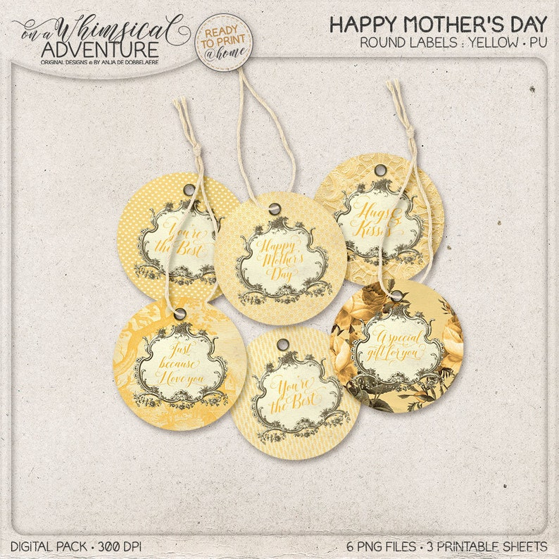 Printable Circular Tags Gift Idea For Mom Happy Mother's image 0